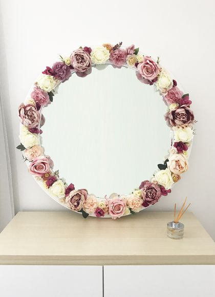 Dusty pink circular mirror