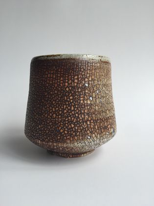 Wood Fired Stoneware:  Crackle Tumbler 1