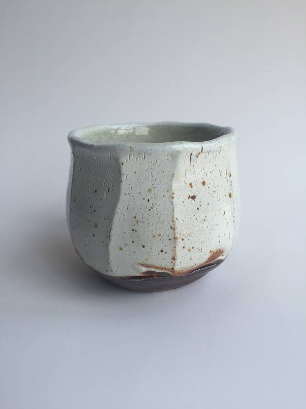 Wood Fired Stoneware:  Speckled Faceted Tumbler 1