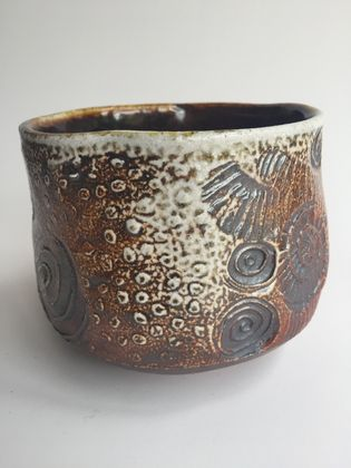 Wood Fired Stoneware:  Stamped Bowl 3