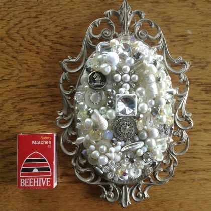 "Silver, white and crystal Button and Bead art set in an Antique Italian Frame....""Singing In the Rain"""