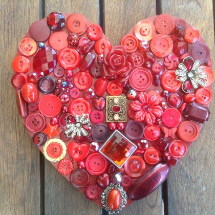 "Bright Red Single Layer Button and bead Heart....""Love Lies Bleeding"""