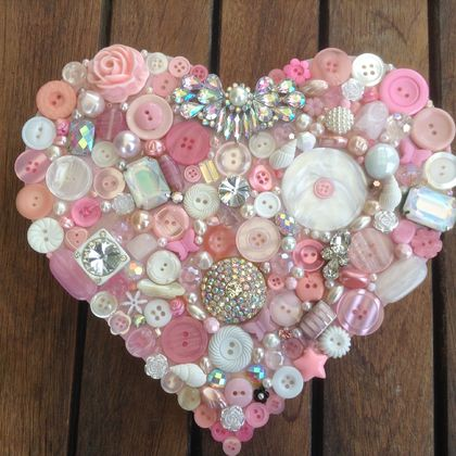 Pastel Pink and White Wall Heart....MARSHMALLOWS... Button and bead Heart