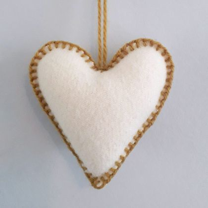 Recycled Blanket Heart Christmas Tree Decoration