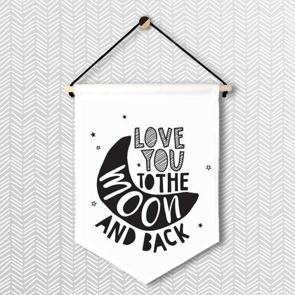 Love You To The Moon & Back - Large Wall Flag