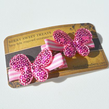 Pink Shimmer Butterfly | Hair Clips