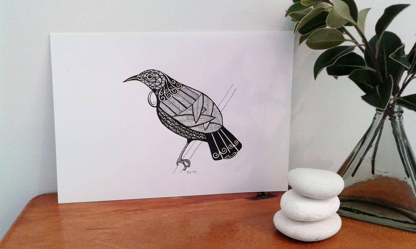 A5 - Tui facing left, original ink pen drawing