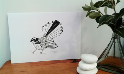 A5 - Fantail with kowhai, original ink pen drawing