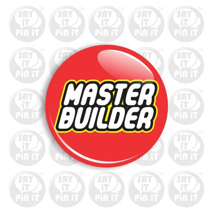 "LEGO Inspired Master Builder Badge 50mm/2"". Great for a themed Party"