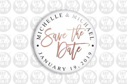 Save The Date Fridge Magnet - Printed Rose Gold 50mm/2""