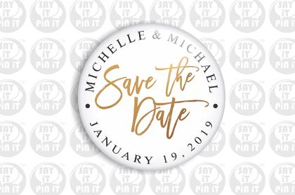 Save The Date Fridge Magnet - Printed Gold 50mm/2""