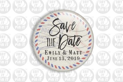 Save The Date Fridge Magnet - Vintage Post  50mm/2""