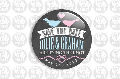 Save The Date Fridge Magnet - Blue & Pink Birds on Chalkboard Effect 50mm/2""