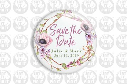 Save The Date Fridge Magnet - Pink Poppy & Twigs 50mm/2""