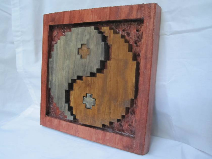 8-bit wooden yin yang design