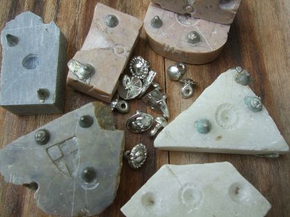 Medieval-style pewter buttons - small unadorned dome design, set of six