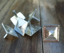 Medieval-style pewter decorative mounts - square bossed design, set of six