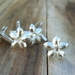Medieval-style pewter decorative mounts - heraldic cinquefoil design, set of six