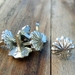 Medieval-style pewter decorative mounts - heraldic scallop shell design, set of six