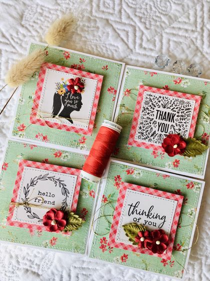 Beautiful Notecard Packs - 4 cards (Red)
