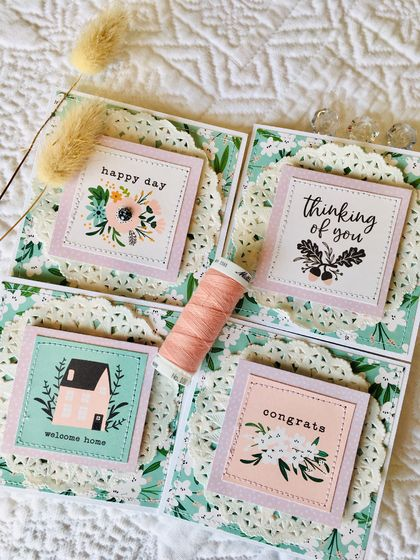 Beautiful Notecard Packs - 4 cards (pink & mint)