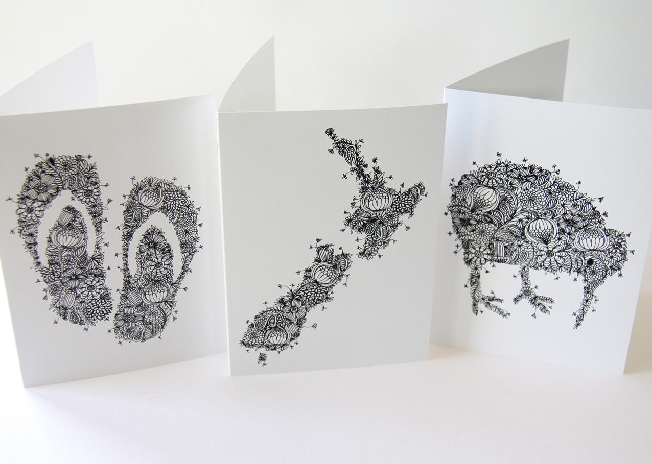 x3 kiwiana gift cards  felt