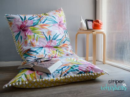 Two Large Tropical Flower Floor Cushions - White Pom Poms