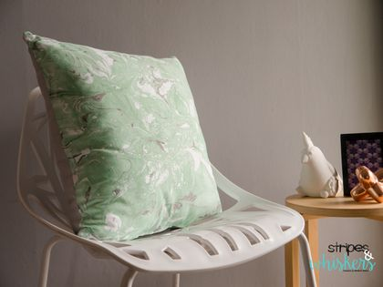 Hand Marbled Green Cushion 'Green Motion'