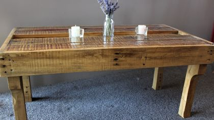 Recycled Wood Inlay Coffee Table