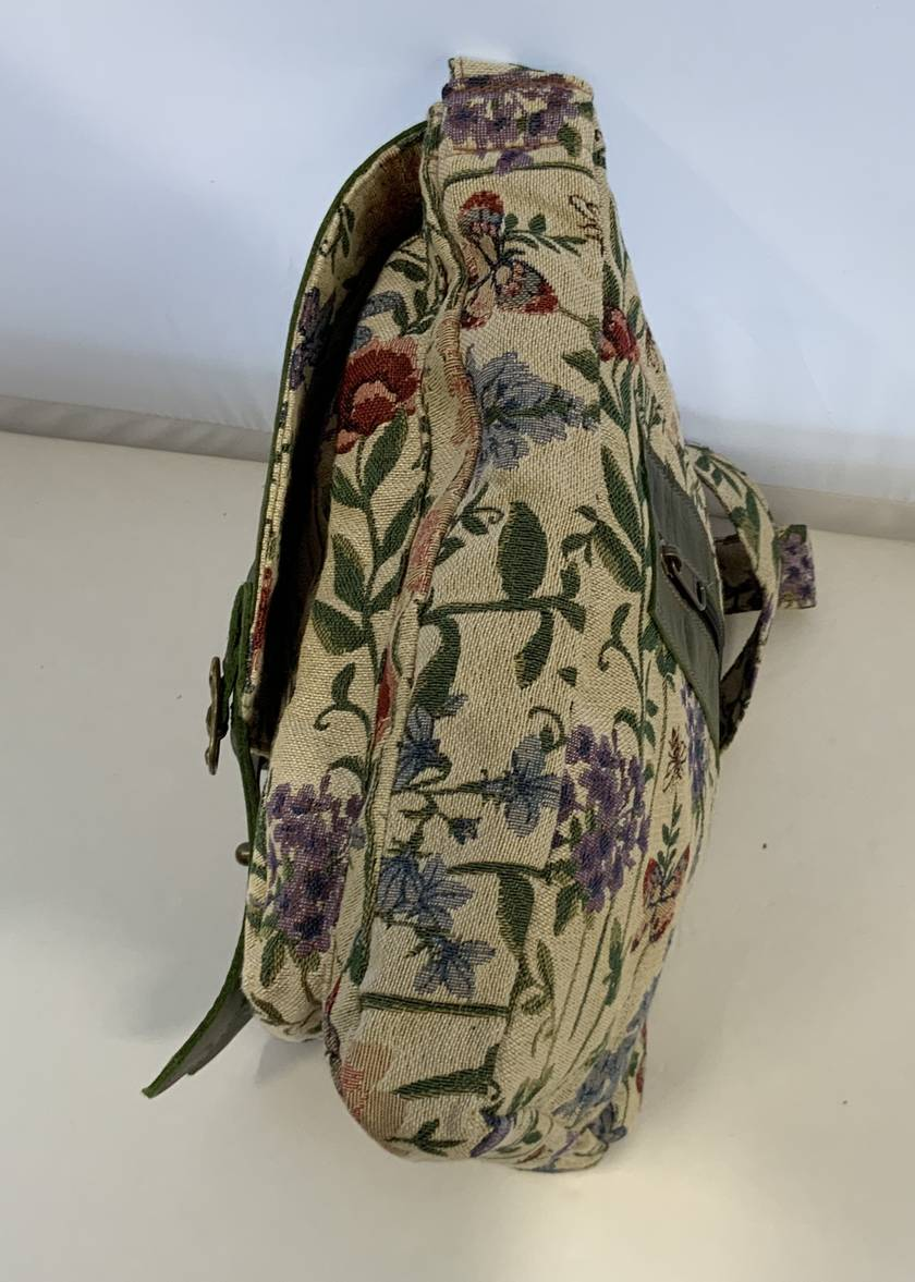 AJ5F Upholstery Fabric and  Bottle Green genuine Leather Bag