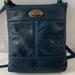 Stripe Navy Genuine Leather Shoulder Bag