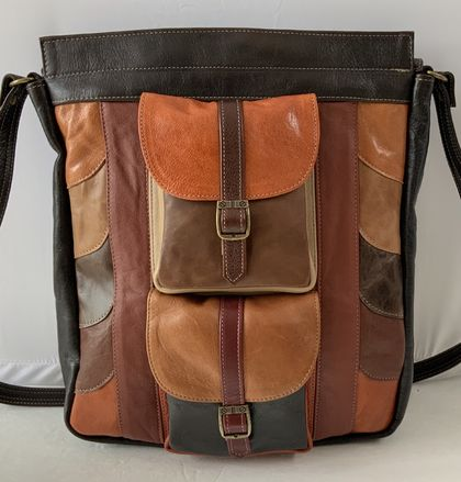 M1 Multi Coloured Large Leather Shoulder Bag