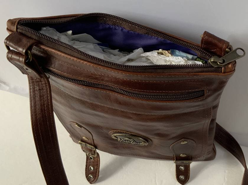 J4 Brown Leather Shoulder Bag