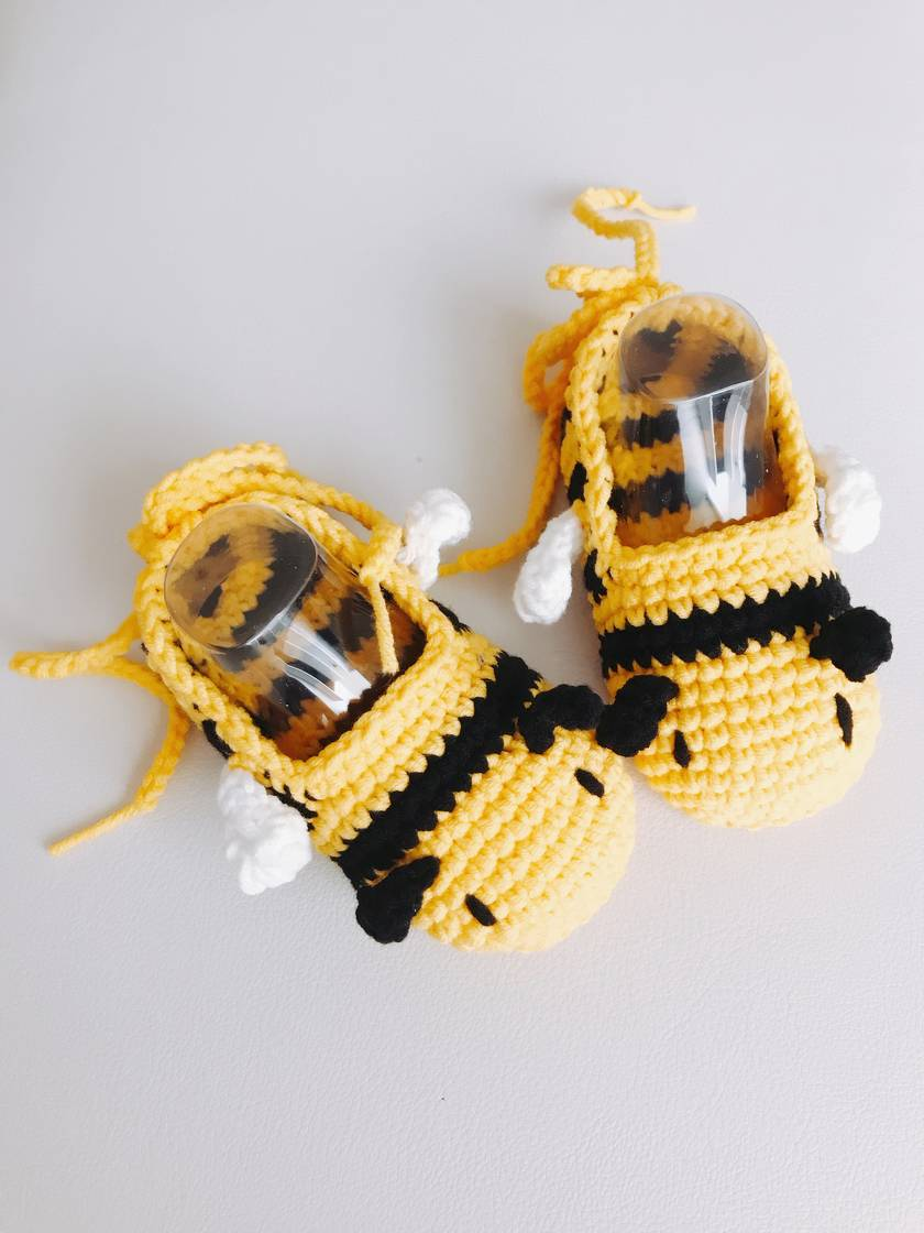 Hand crocheted baby booties - Bumble bee
