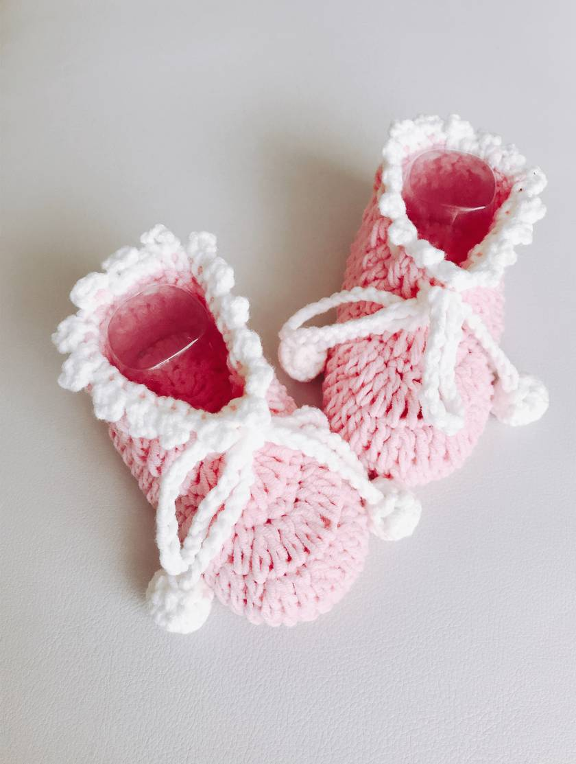 Hand crocheted baby booties - Princess Pink