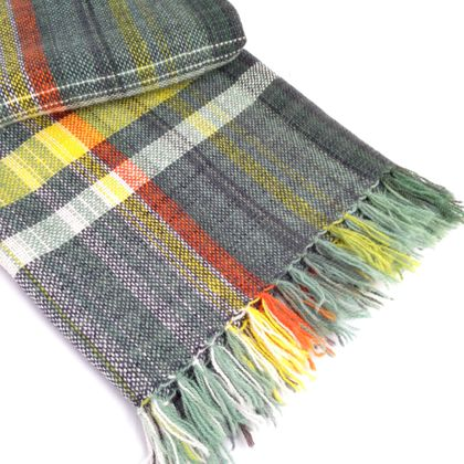 Hand-woven Wool Blanket, Grey, Yellow & White Weft on Multicoloured Warp