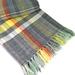 Hand-woven Wool Blanket, Grey, Yellow & White Weft on Multicoloured Warp