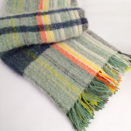 Hand-woven Mohair Blanket, White with Blue Band Weft on Multicoloured Warp