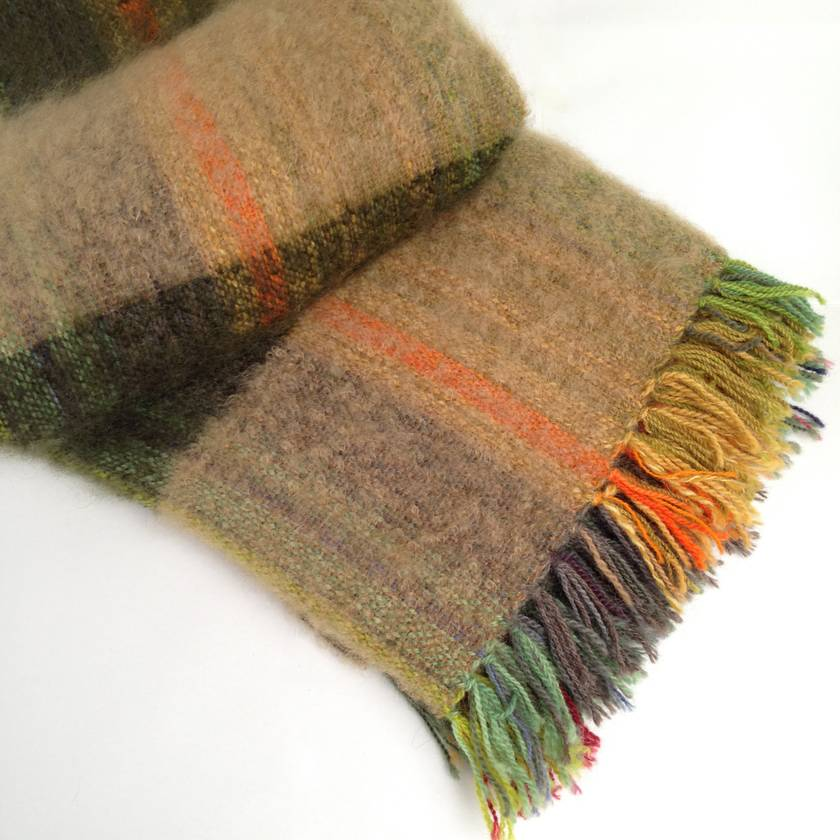Hand-woven Mohair Blanket, Sand & Green Band Weft on Multicoloured Warp