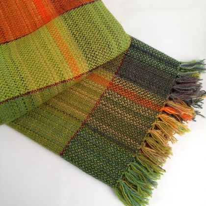 Hand-woven Wool Blanket, Multicoloured Bands Edged with Maroon, in Broken Twill
