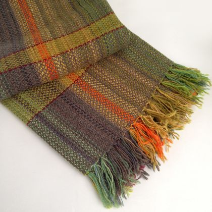 Hand-woven Llama Blanket, Gold and Maroon Stripes, in Broken Twill on Multicoloured Warp