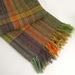 Hand-woven Llama Blanket, Gold and Maroon Stripes, in Broken Twill on Multicoloured Warp