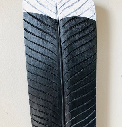 Carved Rimu Huia Feather