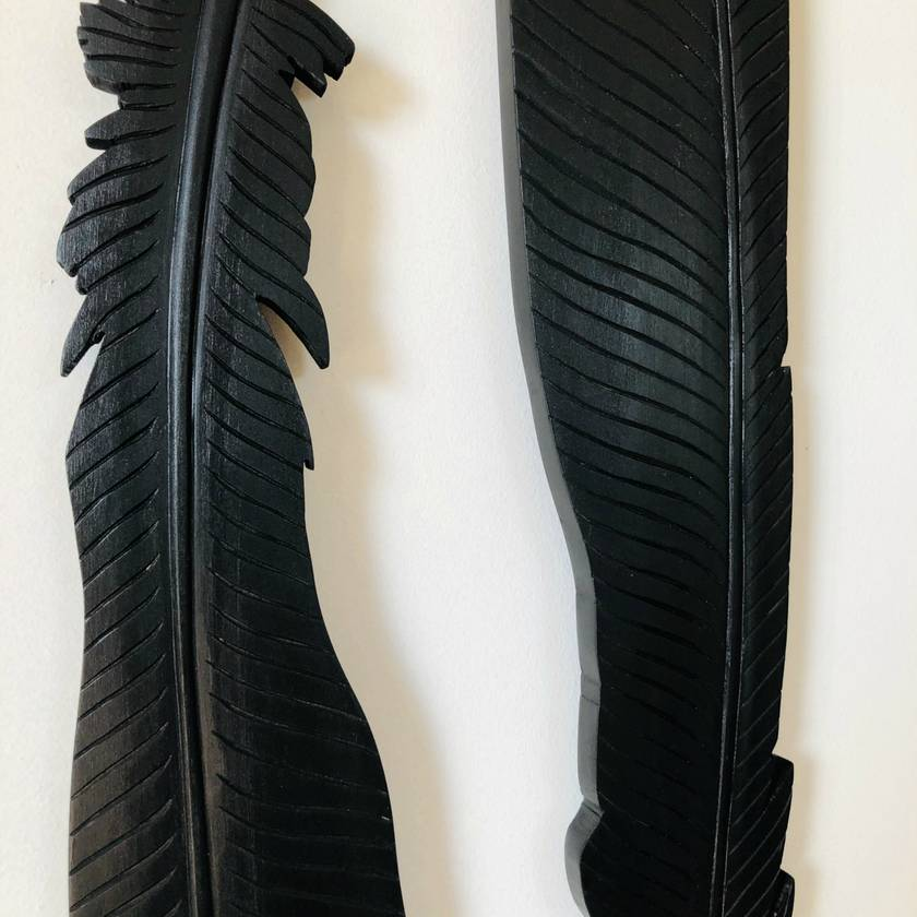 Carved Rimu Huia Feathers Set 2