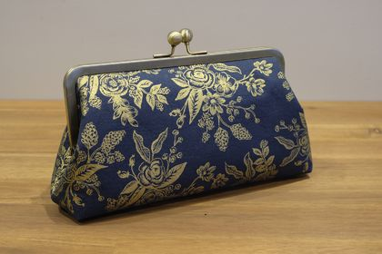 Metal Frame Clutch - Gold Flowers