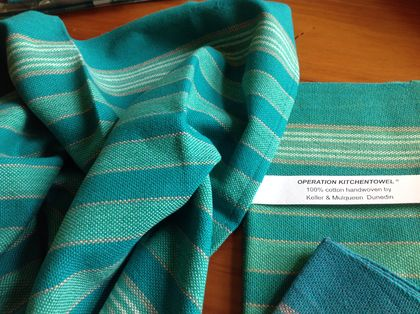 Handwoven kitchen / tea towels  'Teal' range