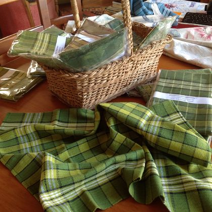 Handwoven kitchen / tea towels  'Brilliant Green' Range
