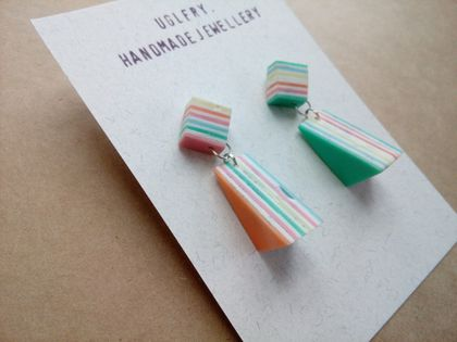 Rainbow Geometric Drop Studs