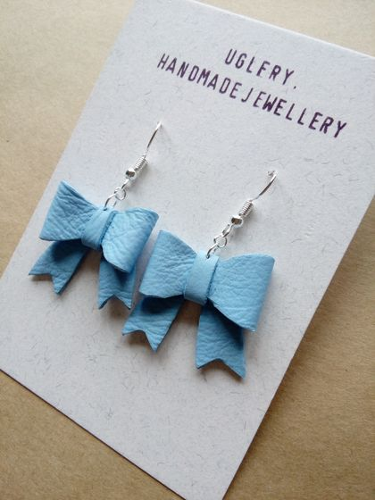 Leather Bow Earrings