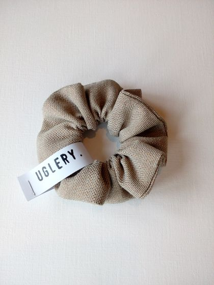 Tan and Silver Scrunchie